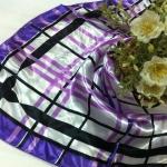 ผ้าพันคอ ผ้าคาดผมเนื้อไหมญี่ปุ่น : ลายกราฟฟิคสีม่วง