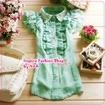 เสื้อแฟชั่นแขนสั้นระบายประดับลูกไม้สีเขียว 2012 short sleeve lace shirt, wooden boats sleeve chiffon shirt shirt lapel lotus leaf lace blouse (Preorder)
