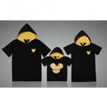 ชุดครอบครัว เสื้อครอบครัว เสื้อยืดสกรีนลายมิกกี้พร้อมฮู๊ด สีดำ (ราคา 3 ตัว พ่อ แม่ ลูก) - พร้อมส่ง
