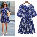 [Preorder] เดรสแฟชั่นแขนสั้นสกรีนลายเก๋ๆ สีน้ำเงิน 2013 summer new European and American fashion floral short-sleeved chiffon dress big long skirt Korea
