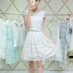 [Preorder] เดรสแฟชั่นแขนกุดประดับลวดลายเก๋ๆ สีขาว (ไซส์ S M L XL 2XL 3XL) 2015 Slim chiffon dress women's summer dress tide suit summer long section piece fitted skirt tutu