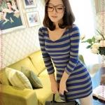เดรสแขนยาวลายขวางสีฟ้าเทา JackGrace fresh is Smart! Striped V-neck Slim dress color