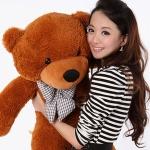 ตุ๊กตาหมียิ้มผูกโบว์ Teddy 1.8 เมตร สีน้ำตาลเข้ม ตุ๊กตาตัวใหญ่น่ารักน่ากอด