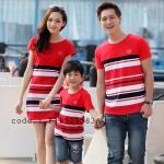 ชุดครอบครัว เสื้อครอบครัวลายขวาง ชายเสื้อยืดคอกลม หญิงเดรสสั้นคอกลม เสื้อเด็กใส่ได้ทั้งเด็กหญิง เด็กชาย สีแดง (ราคา 3 ตัว พ่อ แม่ ลูก) - pre order