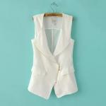[Preorder] เสื้อแจ๊กเก็ตแฟชั่นแขนกุด ซิปเก๋ๆด้านหน้า แบรนด์ Lily สีขาว (ไซส์ S M L) 2014 Hitz European style women's casual commuter simple asymmetrical vest vest jacket blouses