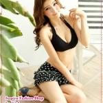 บิกินนี่กระโปรงลายจุดสีดำ Printed tie neck bikini two groups Tokyo Fashion 100% (Preorder)