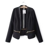 [Preorder] เสื้อสูทแฟชั่นแขนยาว แบรนด์ TOPSHOP สีดำ (ไซส์ S M L) 2014 Fall New European style TOPSHOP spell color zipper hem stitching small suit jacket suit influx of women
