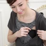 [Preorder] เดรสคลุมท้องแขนสั้นสามารถให้นมคุณลูกได้ด้วยจ้าลายขวางเก๋ๆ สีเทาเข้ม The Korean maternity dress summer cotton Maternity Dresses Nursing Wear fashion long section of pregnant women T-shirt