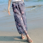 กางเกงขายาวแฟชั่นชายทะเล ลายดอกบัวสีเทาเข้ม (2017 Korean version of the resort beach wide leg pants chiffon seven nine pants skirt pants straight was thin thin female pants)