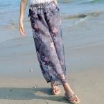 กางเกงขายาวแฟชั่นชายทะเล ลายดอกบัวสีเทาเข้ม (2017 Korean version of the resort beach wide leg pants chiffon seven nine pants skirt pants straight was thin thin female pants)