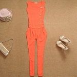 [Preorder] จั๊มสูทแฟชั่นแขนกุดขายาวสไตล์ยุโรป สีส้ม 2013 Korean version of the Slim Chiffon Siamese pants sleeveless high waist single breasted