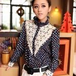 เสื้อเชิ๊ตชีฟองลายจุดสีน้ำเงิน retro upscale ladies long-sleeved waist chiffon shirt