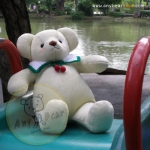 ตุ๊กตาหมีผ้าขนสั้นสีครีมขนาด 40 cm. - Niza XL size