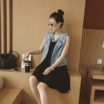 [Preordre] เดรสแขนกุดสีดำ + เสื้อกั๊กยีนส์แขนกุดสีฟ้าอ่อน (ไซส์ S M L XL) 2016 Summer new Korean vest skirt sleeveless denim vest waist dress two-piece women