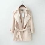 [Preorder] เสื้อแจ๊กเก็ตแฟชั่นสไตล์ยุโรปแขนยาว สีกากี (ไซส์ S M L XL) Windbreaker female 2015 autumn new Women England loose, casual long section of large size women was thin windbreaker jacket