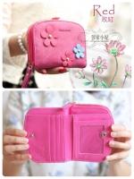 (พร้อมส่ง)กระเป๋าสตางค์เกาหลี เกรดพรีเมี่ยม สีชมพู ดอกไม้