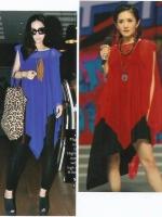 เสื้อผ้าโปร่งover size สีแดง สีน้ำเงิน