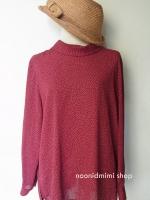 เสื้อวินเทจคอเต่าลายจุดสีแดงเหลือง (Vintage Red & Yellow Polka Dot Blouse)