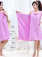 (พร้อมส่ง)ผ้าเช็ดตัวไมโครไฟเบอร์ ใช้เช็ดตัวและใส่เป็นเสื้อคลุมได้ในคราวเดียวกัน สีม่วง