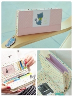 (พร้อมส่ง)กระเป๋าสตางค์เกาหลี CAT-CAT สีชมพู