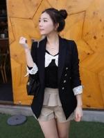 R.J.Lady เสื้อคลุมแฟชั่นคอปกแขนยาวผ้าลินินสีดำ