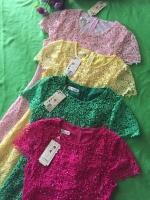 (Pink-rose)ชุดเดรสผ้าลูกไม้ถักทอทั้งชุด สีชมพูบานเย็น pink แต่งมุขด้านหน้าสลับเพชรเล็ก วิ๊งวิ๊ง