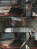 พรมปูพื้นรถยนต์ ALL NEW DMAX 4D พรมลายกระดุม สีดำขอบแดง เต็มคัน เข้ารูป 100%