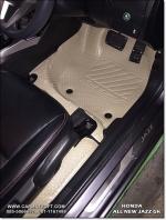 ยางปูพื้นรถยนต์ NEW JAZZ 2014 (GK) รุ่นMiniMat กระดุมเม็ดเล็ก PVC รีดขอบ สีครีม (เต็มคัน) สวยงาม หรูหรา แนวสปอร์ต เข้ารูป 100% ทนทานที่สุด