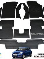 ยางปูพื้นรถยนต์ NEW SWIFT 1.2 รุ่นMiniMat กระดุมเม็ดเล็ก PVC รีดขอบ สีดำ (เต็มคัน) สวยงาม หรูหรา แนวสปอร์ต เข้ารูป 100% ทนทานที่สุด