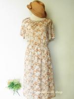 เดรสลายดอกหญ้าสีน้ำตาลอ่อน Light Grass Flower Printed Dress