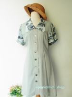 เดรสวินเทจปกแขนพิมพ์ลายสีเขียวพาสเทล (Front Button Very Vintage Green Pastel Dress)