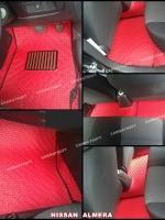 ยางปูพื้นรถยนต์ ALMERA พรมลายกระดุม สีแดงขอบดำ 12 ชิ้น เต็มคัน เข้ารูป 100%