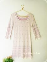 เดรสไหมพรมสีม่วงอ่อน Light Pastel Purple Wool Dress