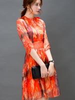 เดรสแฟชั่นเกาหลี สีแซ่บๆ โทนส้ม สวยสดใส สำหรับใคร ชอบสีแจ่มๆ จัดเลยค่ะ