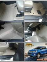 พรมปูพื้นรถยนต์ REVO 4D รุ่น PROMAT ลายหนังแท้ รีดขอบ สีน้ำตาล (เต็มคัน)