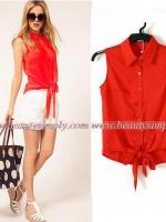 เสื้อลำลองสีแดงสด