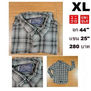 เสื้อเชิ้ตลายสก๊อต เสื้อเชิ้ตUNIQLO Size XL
