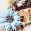 สร้อยคอแฟชั่น ดอกไม้ใหญ่สีฟ้า thumbnail 2