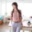Chu ViVi เสื้อผ้าแฟชั่นเกาหลี แขนยาวคอปกลายริ้วสีแดง-ขาว thumbnail 1