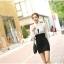 เดรสแฟชั่นเกาหลีเสื้อแขนยาวคอปก สีขาว+ตัวชุดด้านในเสื้อแขนกุดเข้ารูปสีดำ สินค้าตามแบบคะ thumbnail 4