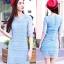 เดรสแฟชั่นเกาหลีสีฟ้า เสื้อแขนสามส่วนผ้าทอลาย เซต 2 ชิ้น มีซับในสีฟ้าแยกให้นะคะ พร้อมส่ง M thumbnail 1