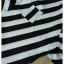 ชุดเซ็ทเสื้อ+กางเกง เสื้อผ้าซาตินเนื้อหนา ลายริ้วสีขาวดำ คอวีปาดนิดๆ thumbnail 6
