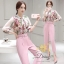 ชุดเซทเสื้อ+กางเกงเป็นผ้าจอเจียร์ สีชมพู thumbnail 3