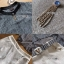 เซ็ตเสื้อผ้าชีฟองลายทางตกแต่งคริสตัล+กางเกงขาสั้นสีขาวพร้อมเข็มขัด thumbnail 6