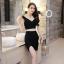 [Preorder] เดรสออกงานกลางคืนแฟชั่นเซ็กซี่ สีดำ (ไซส์ S M L) Nightclub sexy women summer 2016 split deep V sleeveless dress package hip A-line skirt two-piece black skirt thumbnail 1