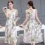 ชุด Maxi dress แขนกุด เนื้อผ้าพิมพ์ลายหอ eiffel และดอกไม้กับผีเสื้อ thumbnail 4
