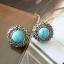 ต่างหูแฟชั่น Zara หินกลมสีฟ้าแบบ Vintage thumbnail 1