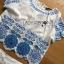 เซ็ตเสื้อและกางเกงผ้าคอตตอนสีขาวปักและฉลุลายดอกไม้สีฟ้า thumbnail 5