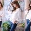 เสื้อคอวีผ้าลูกไม้เกาหลี ปลายเป็นผ้ามุ้ง thumbnail 4