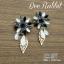 ต่างหูระย้า ประดับพลอยสีดำ เทา ม่วง รูปดอกไม้ แต่งใบไม้สีทองฉลุ thumbnail 1